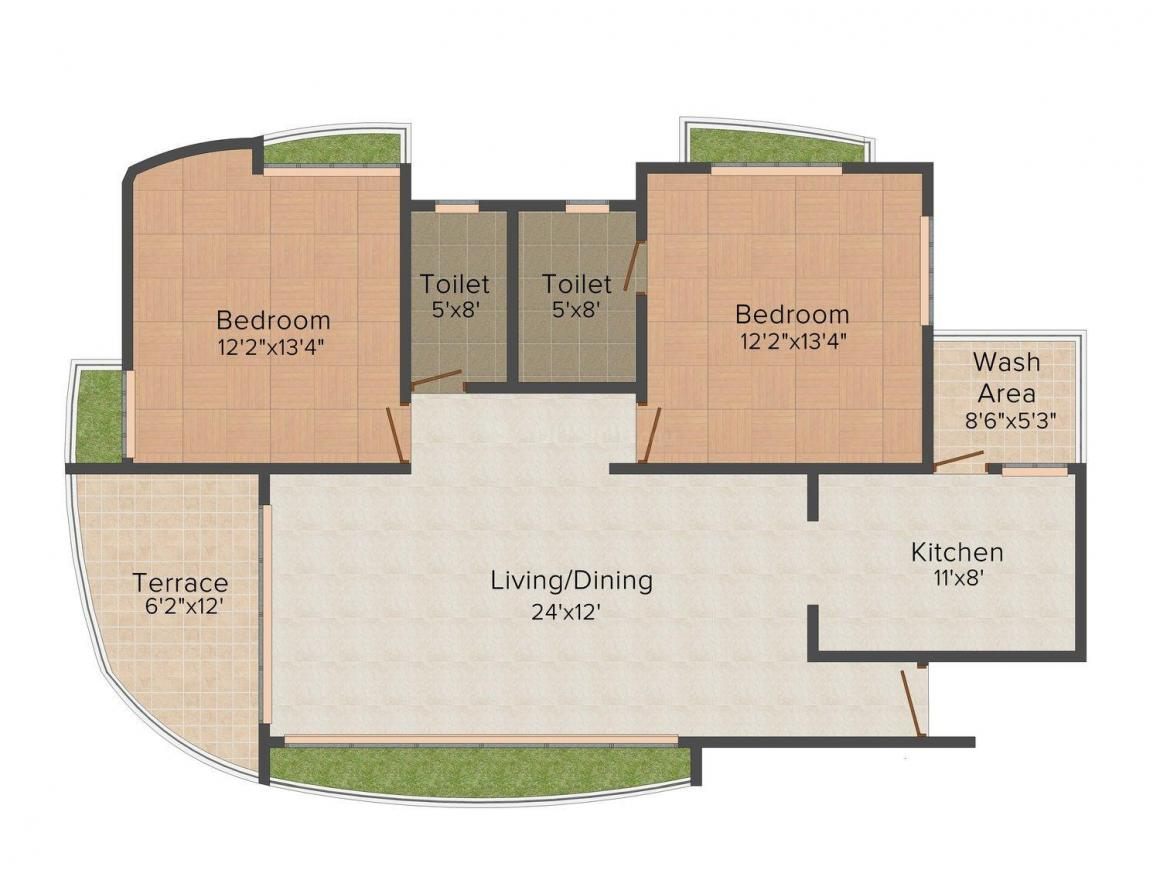Floor Plan Image of 1370 - 2585 Sq.ft 2 BHK Apartment for buy in BCM Paradise