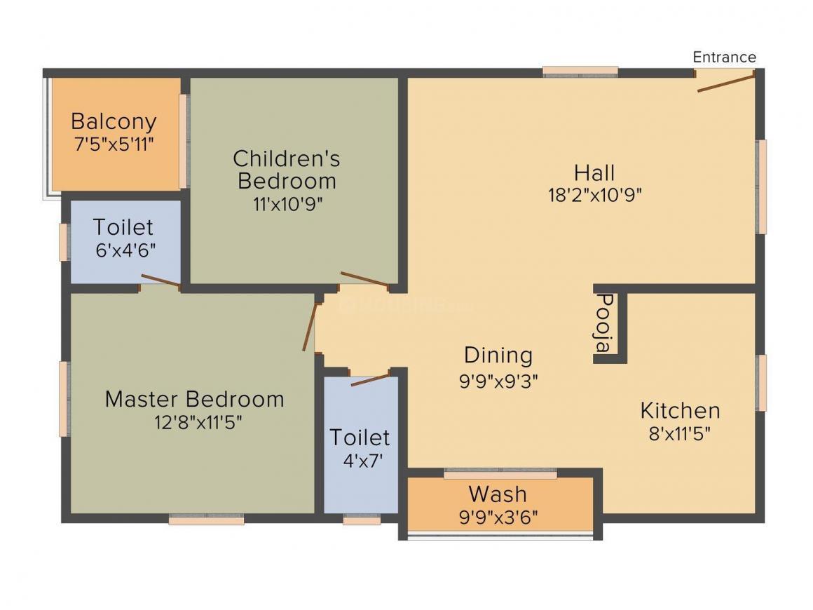 VBM Sukhadah Floor Plan: 2 BHK Unit with Built up area of 1125 sq.ft 1