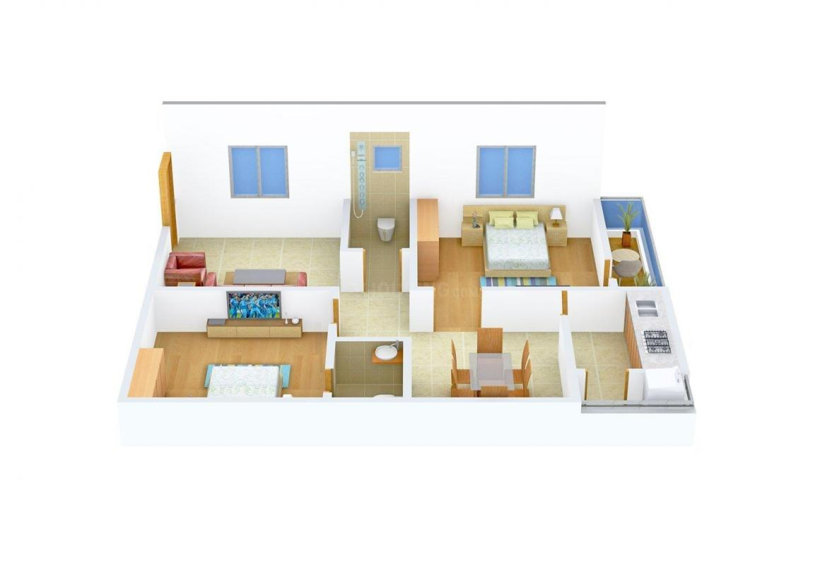 ASR Jaihind ASR Heights Floor Plan: 2 BHK Unit with Built up area of 1008 sq.ft 1