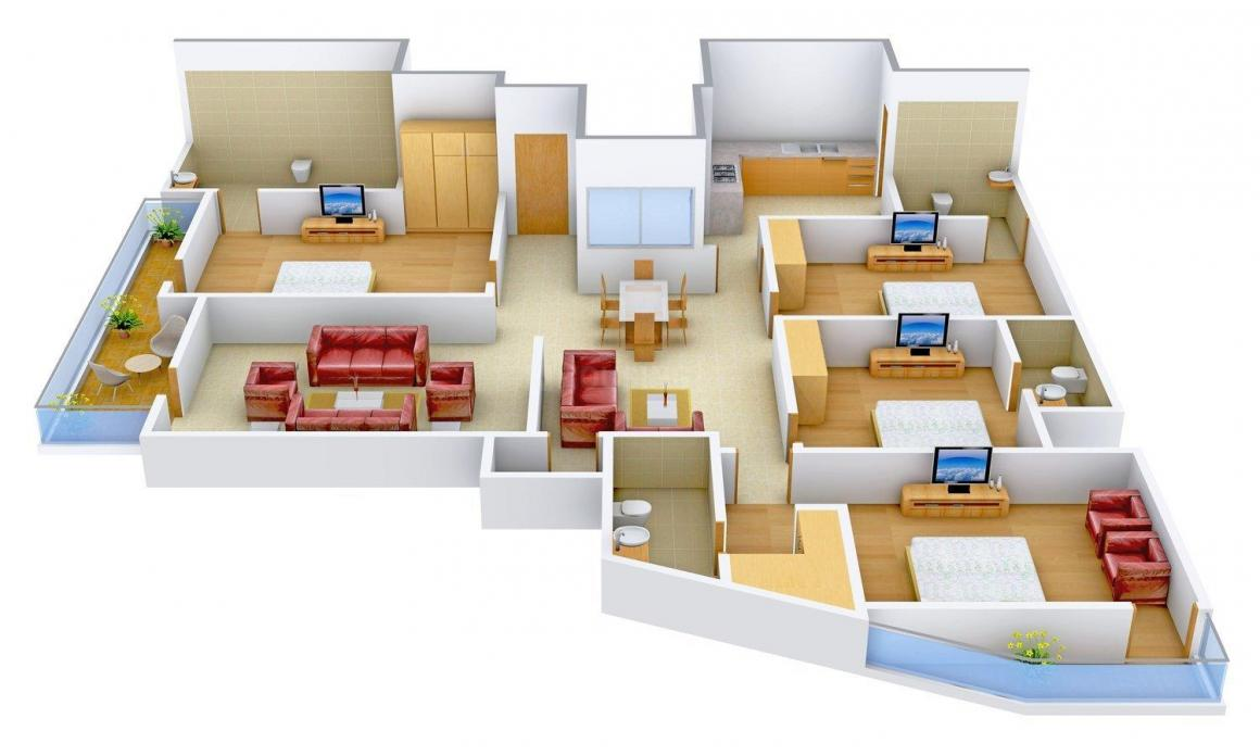 Alreja Home  2 Floor Plan: 4 BHK Unit with Built up area of 2500 sq.ft 1