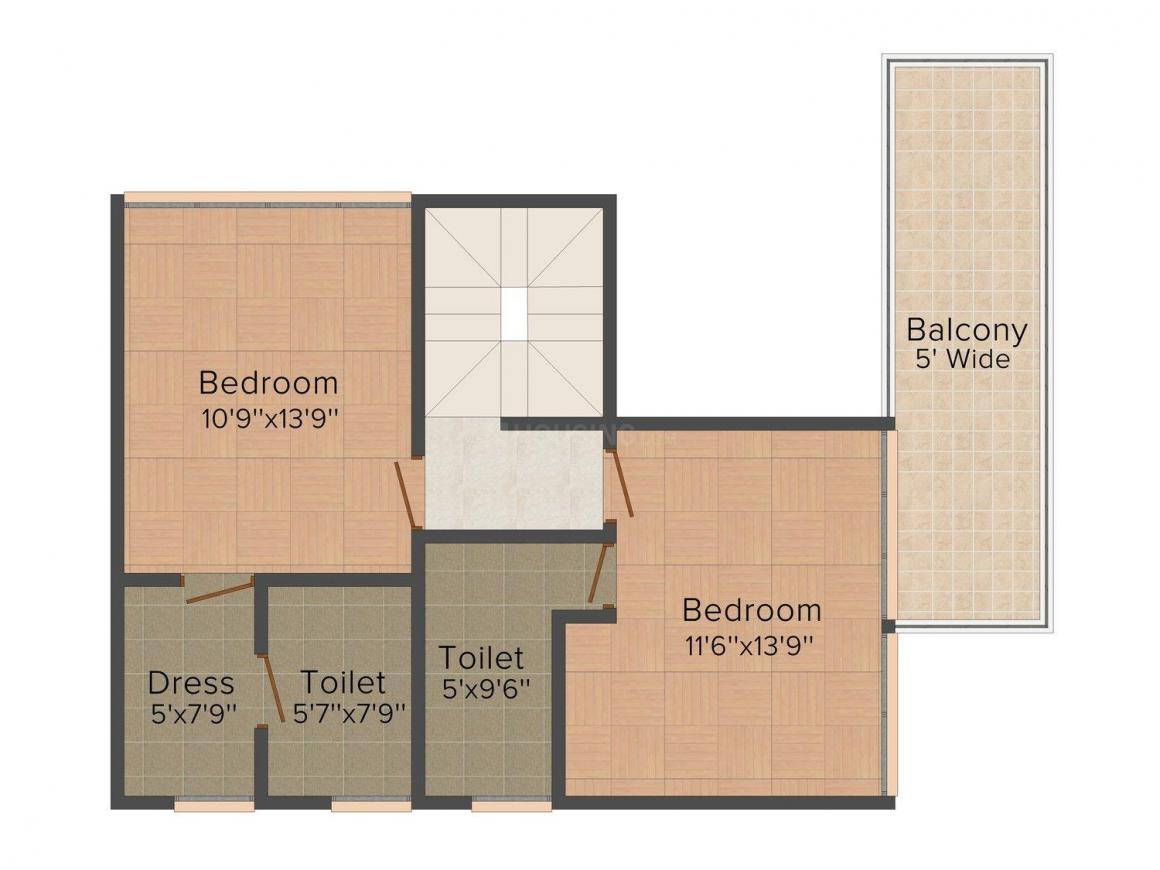 Siddharth Aqua Sol Floor Plan: 3 BHK Unit with Built up area of 1345 sq.ft 1