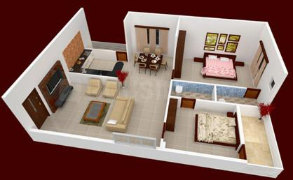 Floor Plan Image of 970.0 - 1357.0 Sq.ft 2 BHK Apartment for buy in MRK Construction Aparrna