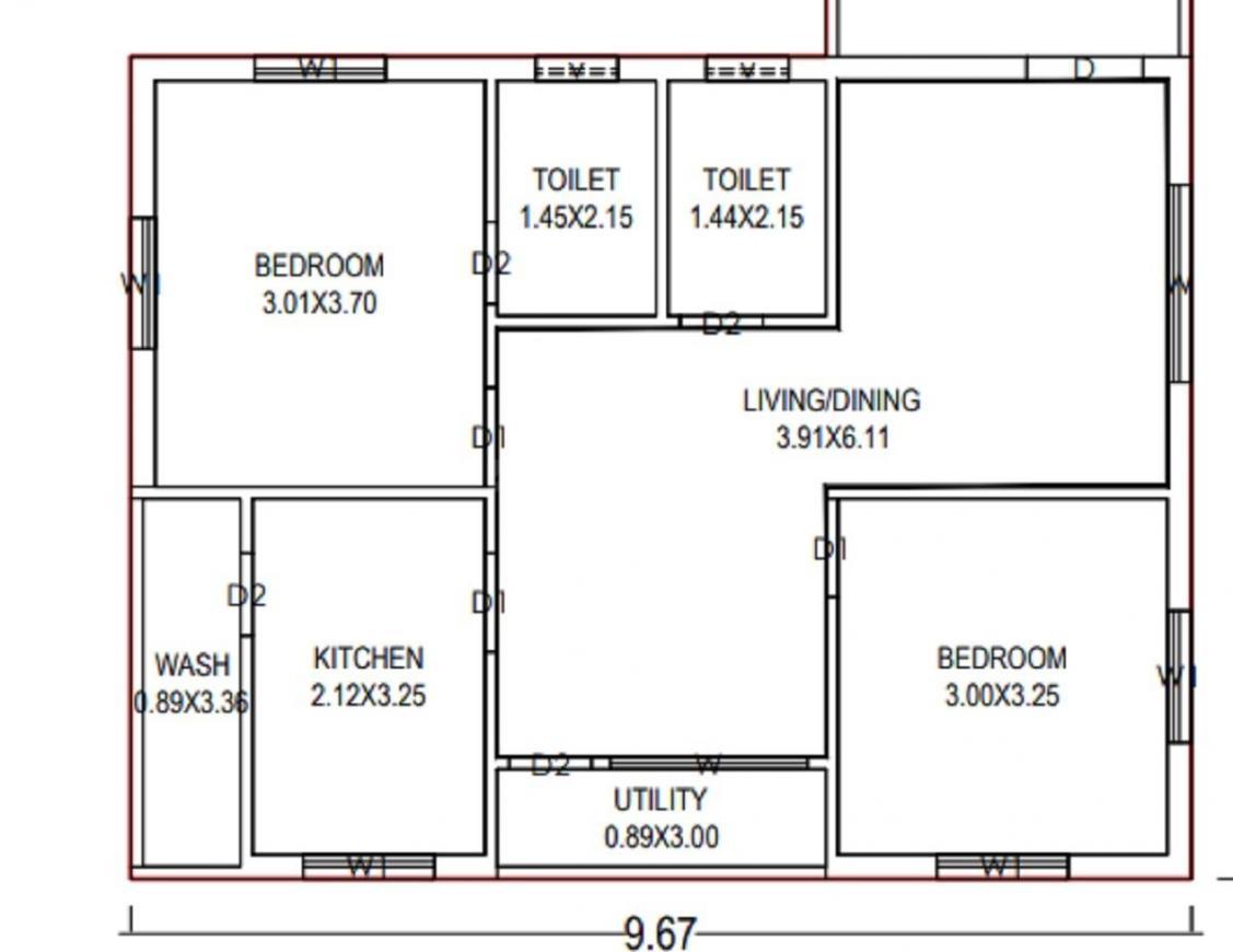 Udumala Balaswamy Reddy Saffire 1 Floor Plan: 2 BHK Unit with Built up area of 965 sq.ft 1