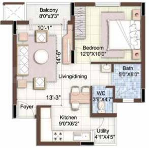 Puravankara Purva Seasons Floor Plan: 1 BHK Unit with Built up area of 705 sq.ft 1