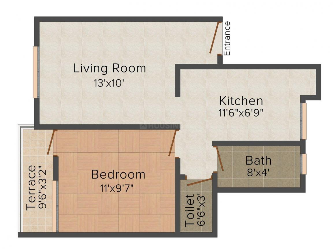 Floor Plan Image of 525 - 641 Sq.ft 1 BHK Apartment for buy in Vastu Prathamesh Residency