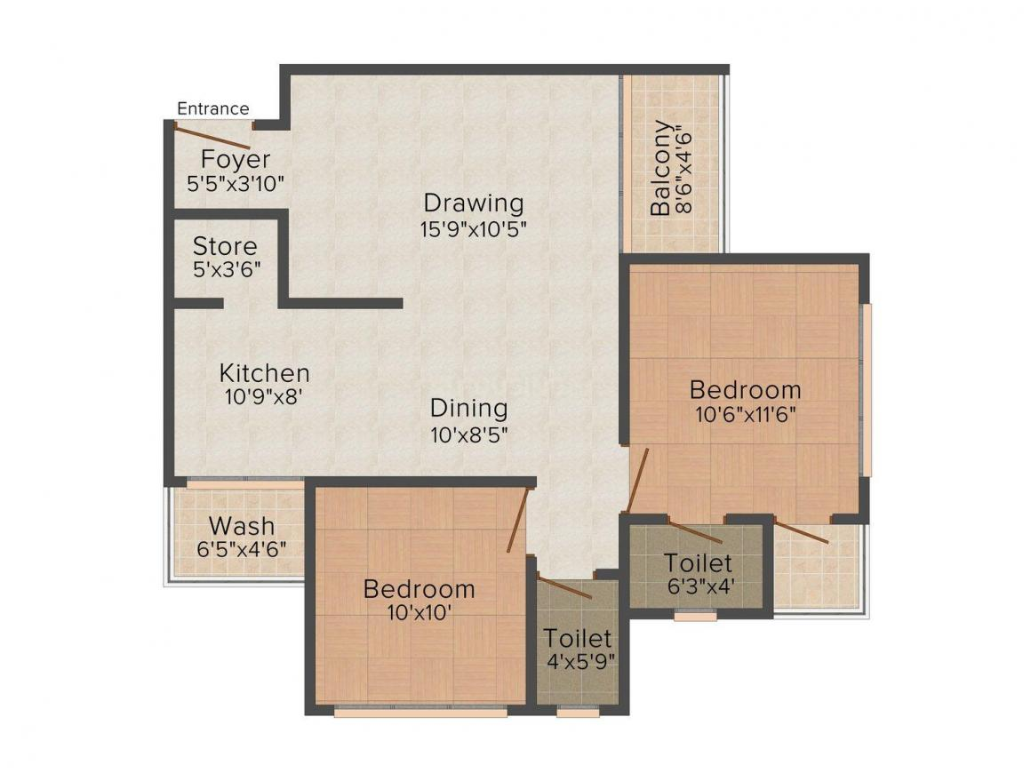 Floor Plan Image of 1305.0 - 1692.0 Sq.ft 2 BHK Apartment for buy in Aawaass Riverfront