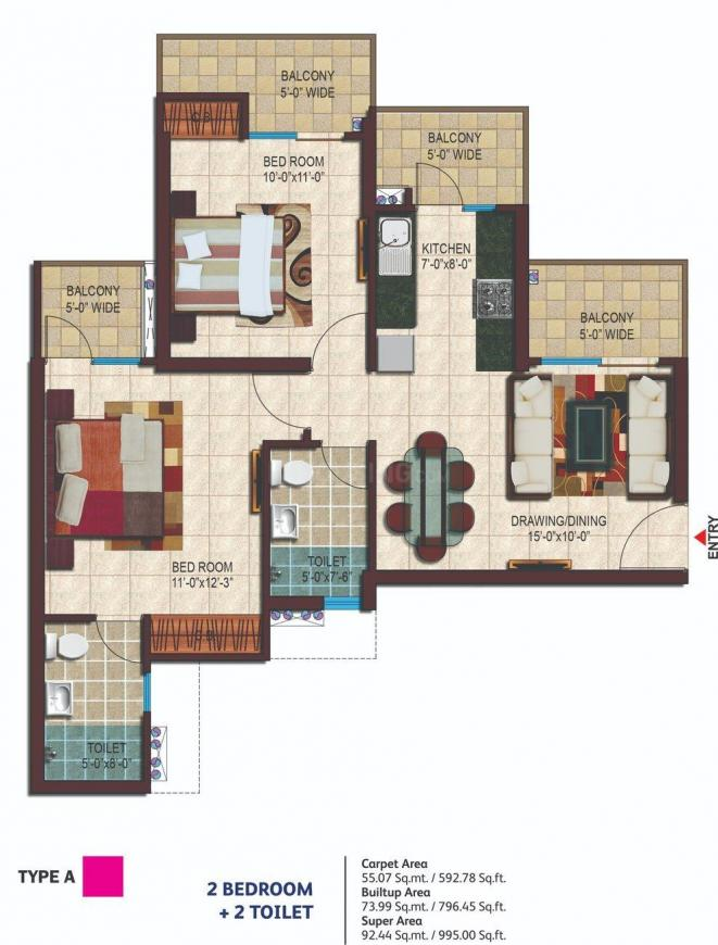 Nirala Estate II Floor Plan: 2 BHK Unit with Built up area of 593 sq.ft 1