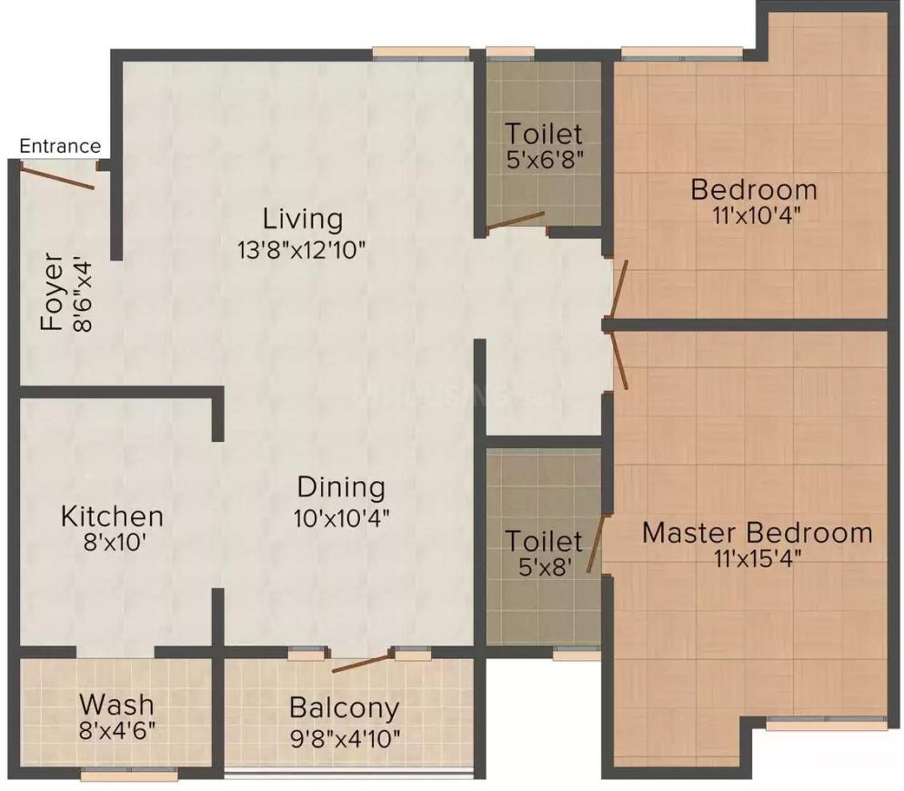 Jain Palm N Meadows Floor Plan: 2 BHK Unit with Built up area of 1008 sq.ft 1