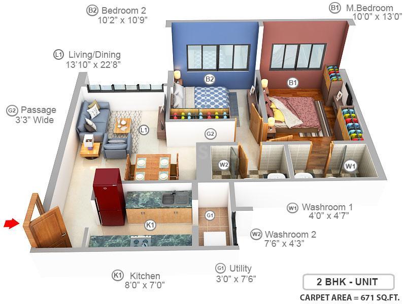 Shapoorji Pallonji Vicinia Floor Plan: 2 BHK Unit with Built up area of 671 sq.ft 1