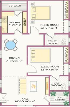 Sunrise Square Block B Floor Plan: 2 BHK Unit with Built up area of 1220 sq.ft 1