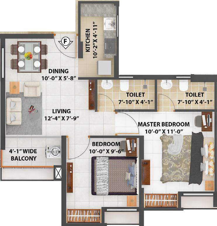 Merlin Next Floor Plan: 2 BHK Unit with Built up area of 624 sq.ft 1