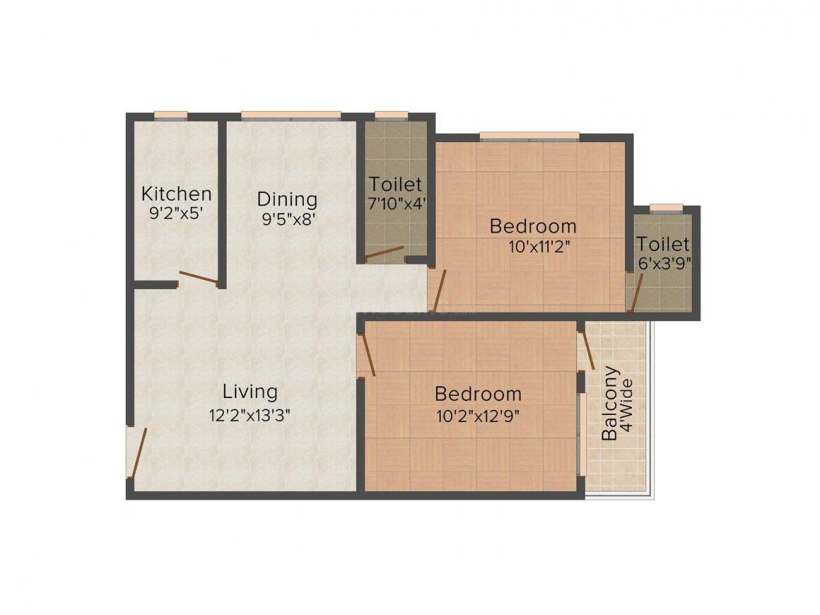 GM Meena Sparsh Floor Plan: 2 BHK Unit with Built up area of 736 sq.ft 1