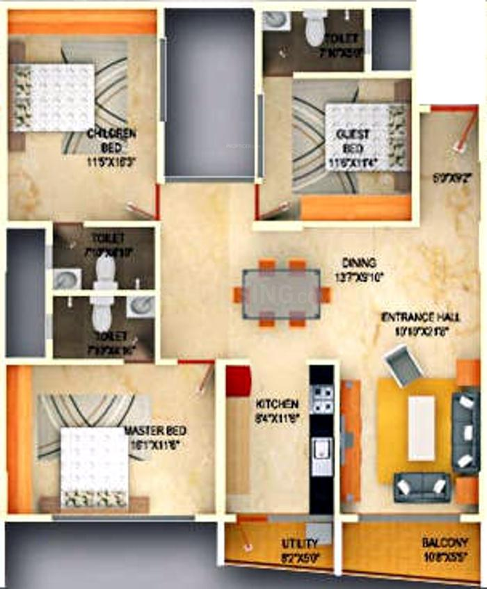 DS Max Skycity Floor Plan: 3 BHK Unit with Built up area of 2019 sq.ft 1