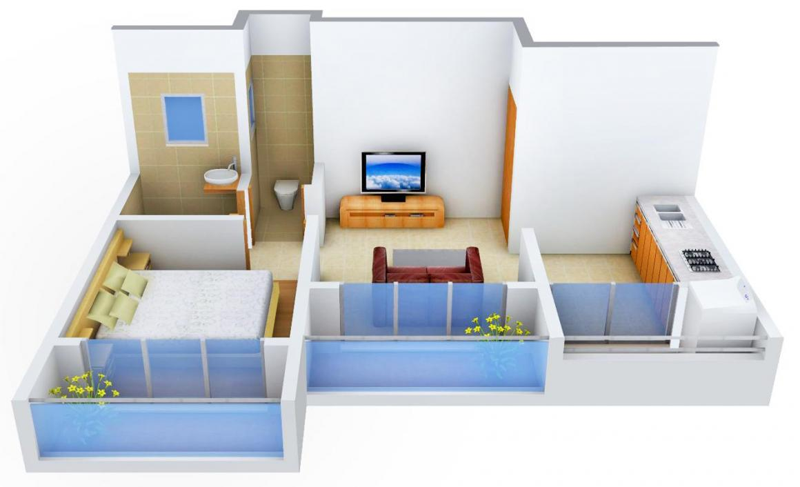 Harish Swami Darshan Floor Plan: 1 BHK Unit with Built up area of 526 sq.ft 1