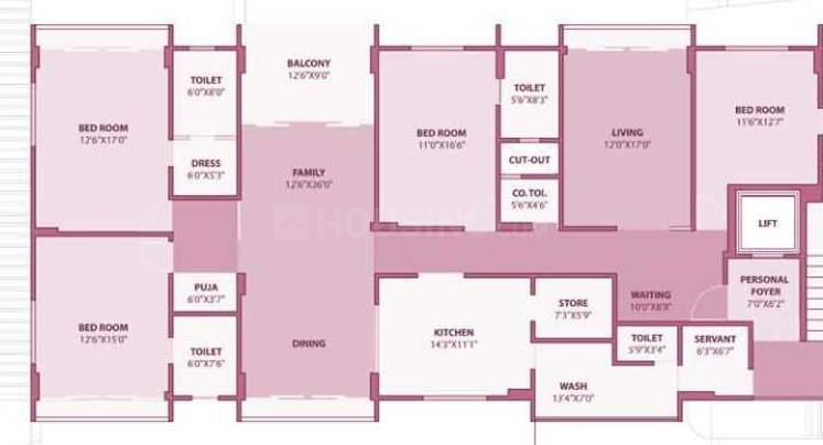 Safal Param Floor Plan: 4 BHK Unit with Built up area of 3500 sq.ft 1