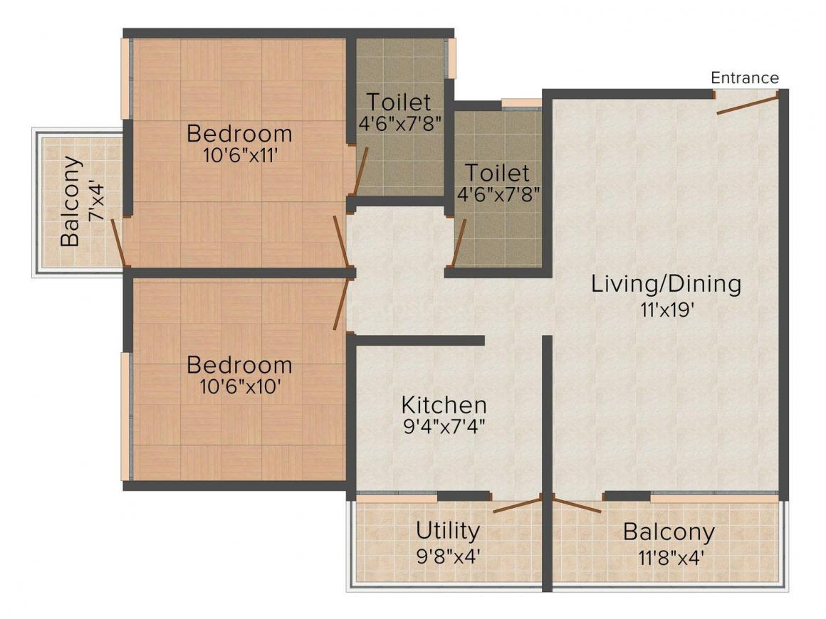 Lakecity Residency Floor Plan: 2 BHK Unit with Built up area of 1050 sq.ft 1