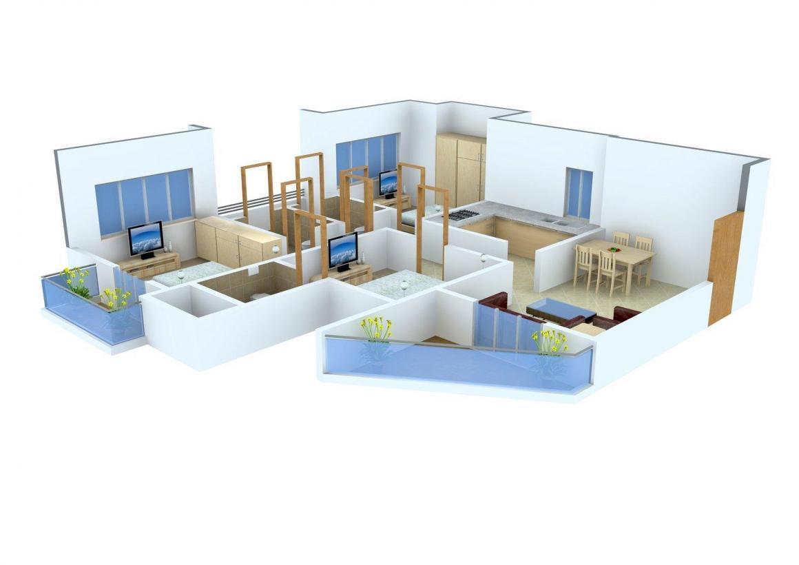 Floor Plan Image of 0 - 840.0 Sq.ft 3 BHK Apartment for buy in Shankeshwar Kingston