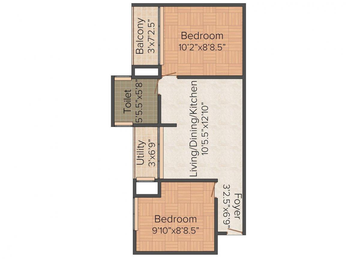 Floor Plan Image of 612.0 - 1060.0 Sq.ft 1 BHK Apartment for buy in Leo Nisarg