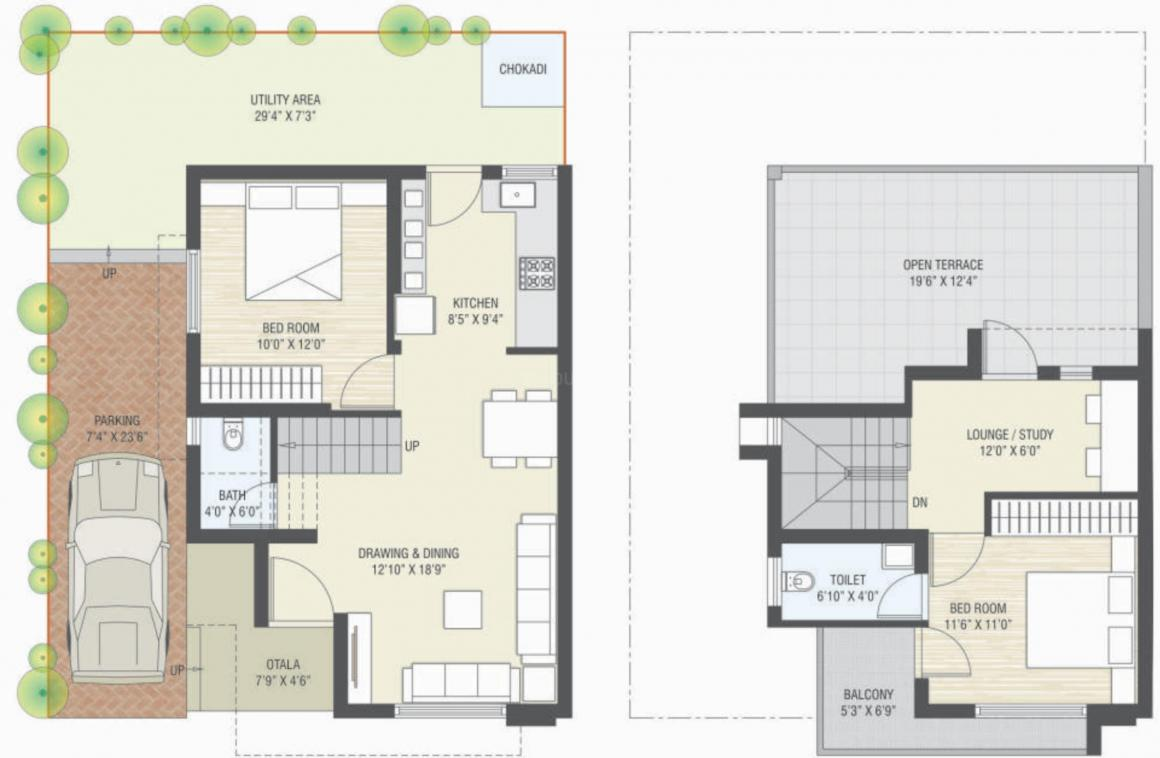 Manidhar City Floor Plan: 2 BHK Unit with Built up area of 748 sq.ft 1