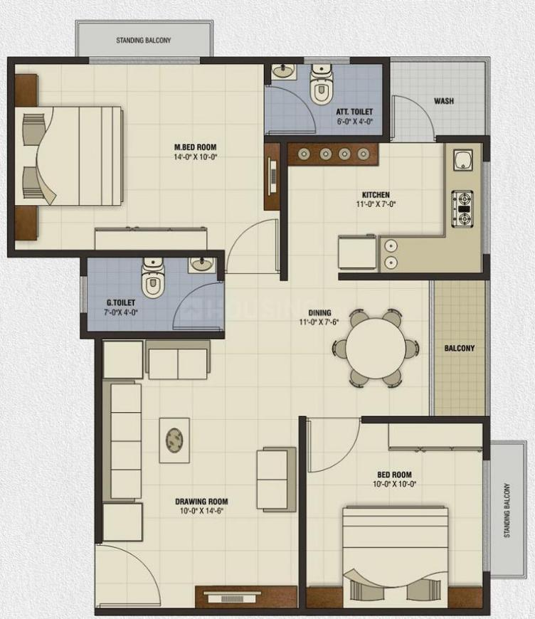 Mitsumi Ashtamangal Orchid Floor Plan: 2 BHK Unit with Built up area of 1143 sq.ft 1