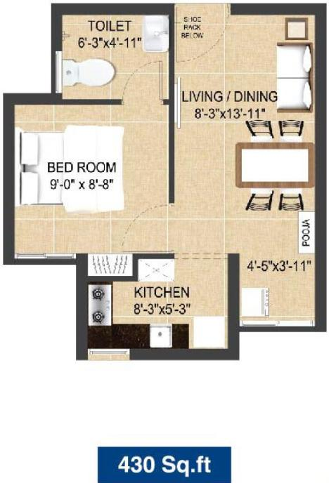 Arun Excello Excello Jalmika Floor Plan: 1 BHK Unit with Built up area of 430 sq.ft 1