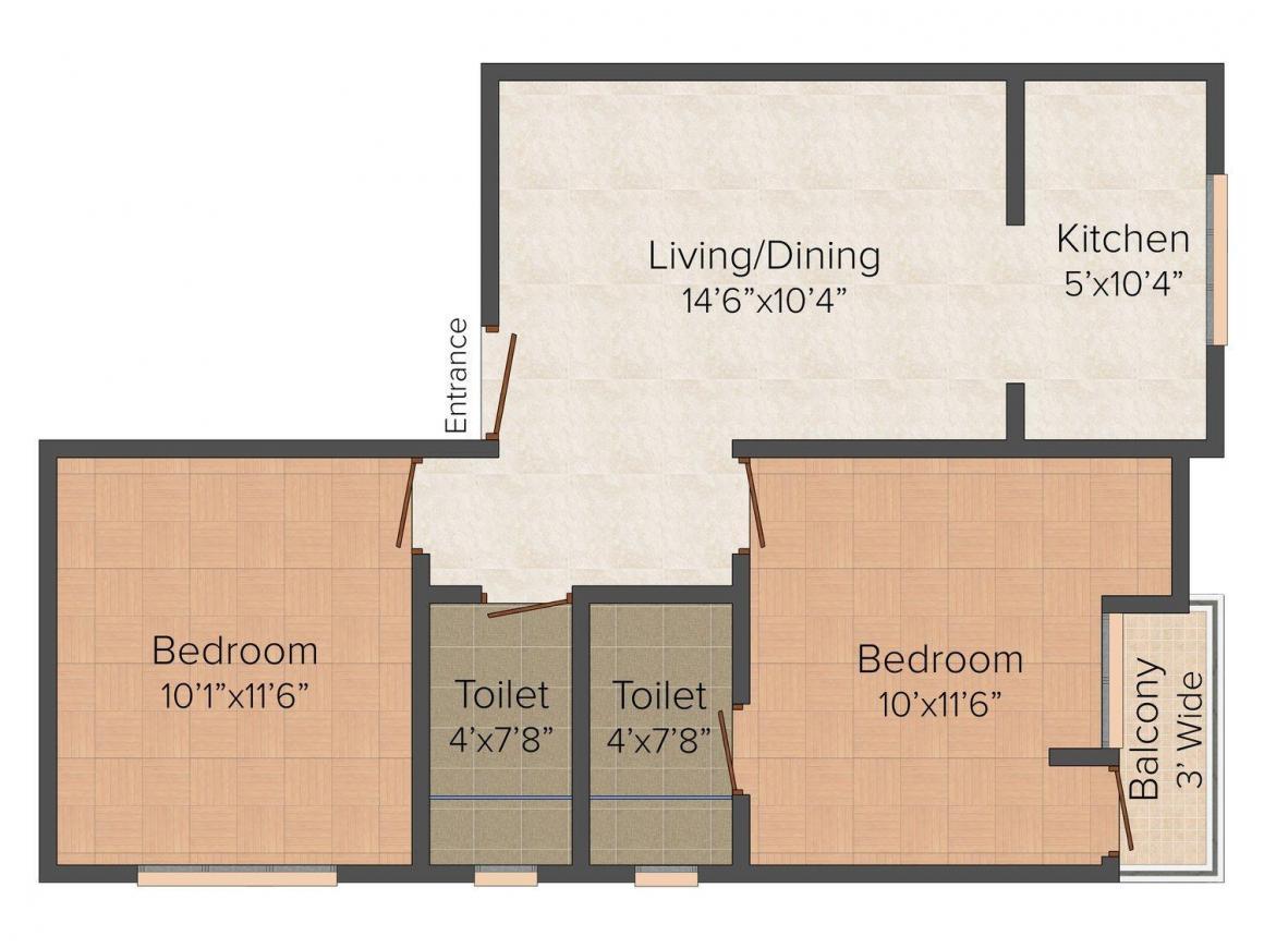 K S Floor - 3 Floor Plan: 2 BHK Unit with Built up area of 675 sq.ft 1
