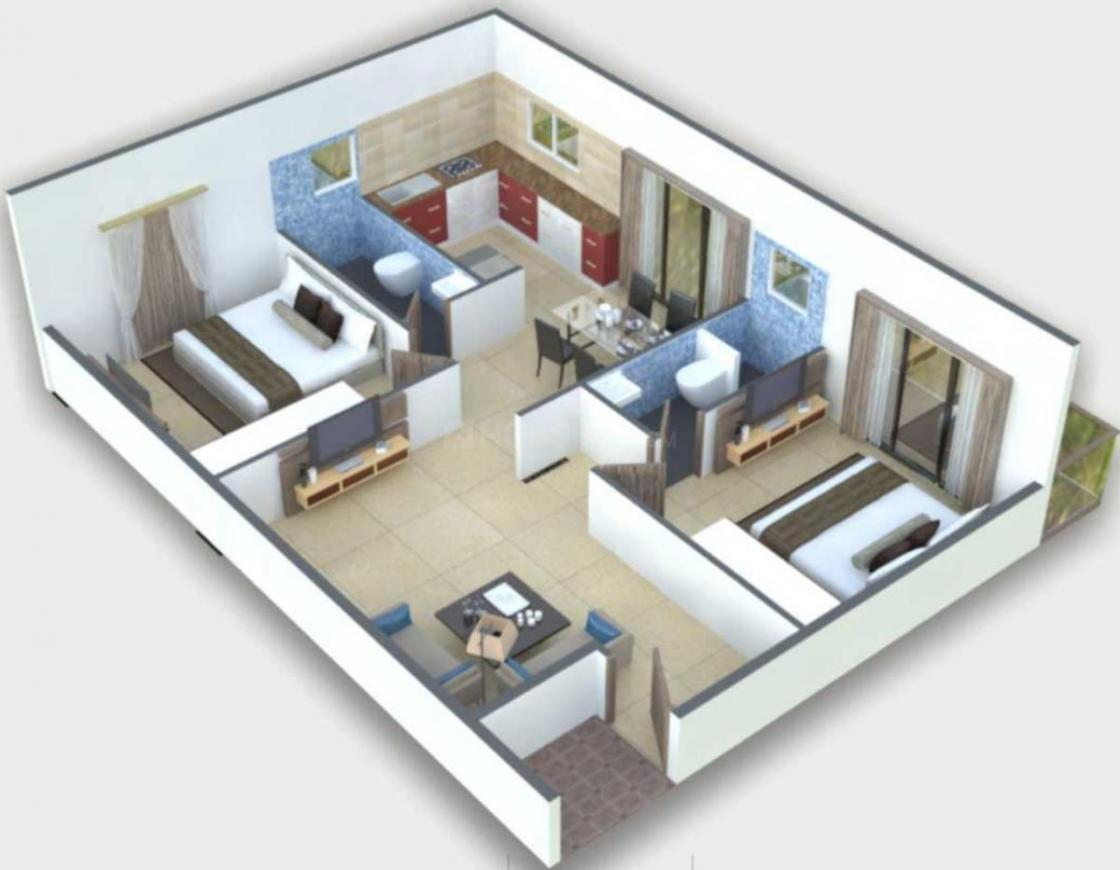 Urban Melody Floor Plan: 2 BHK Unit with Built up area of 1055 sq.ft 1