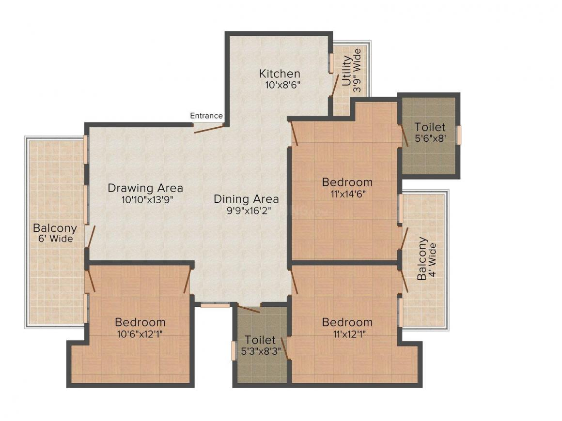 Floor Plan Image of 0 - 1550 Sq.ft 3 BHK Independent Floor for buy in Agarwal Floors-2