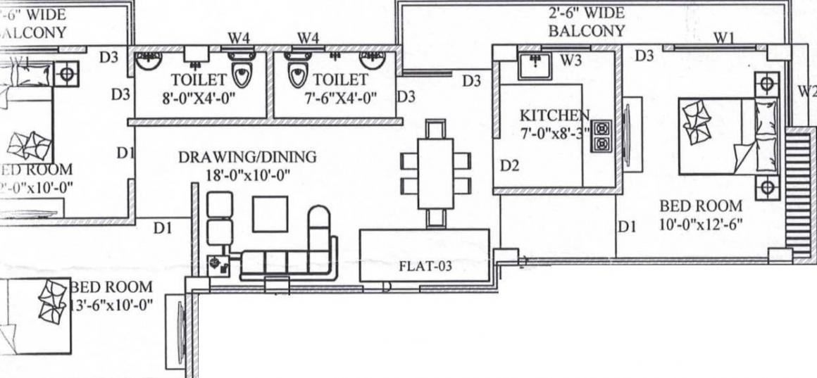 SM Devi Dayal Enclave Floor Plan: 3 BHK Unit with Built up area of 990 sq.ft 1
