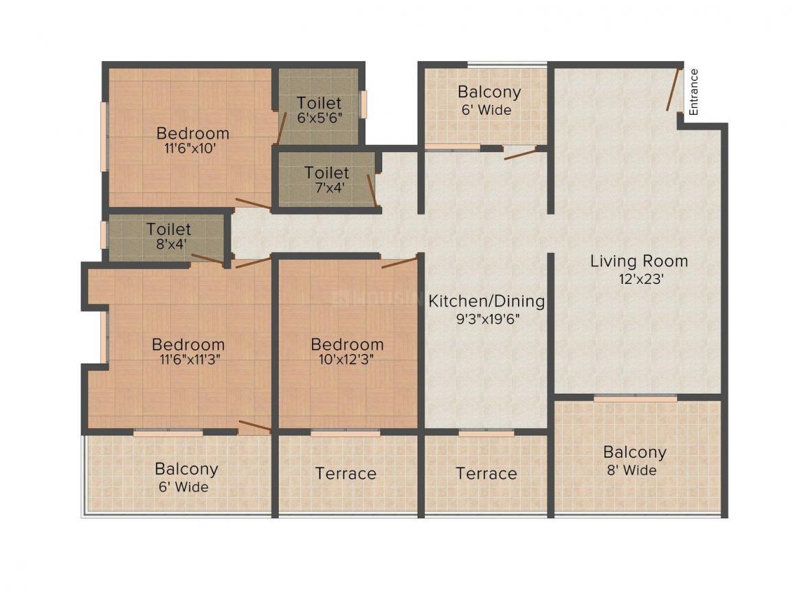 Floor Plan Image of 0 - 1100.0 Sq.ft 3 BHK Apartment for buy in Shreeji Pinnacle