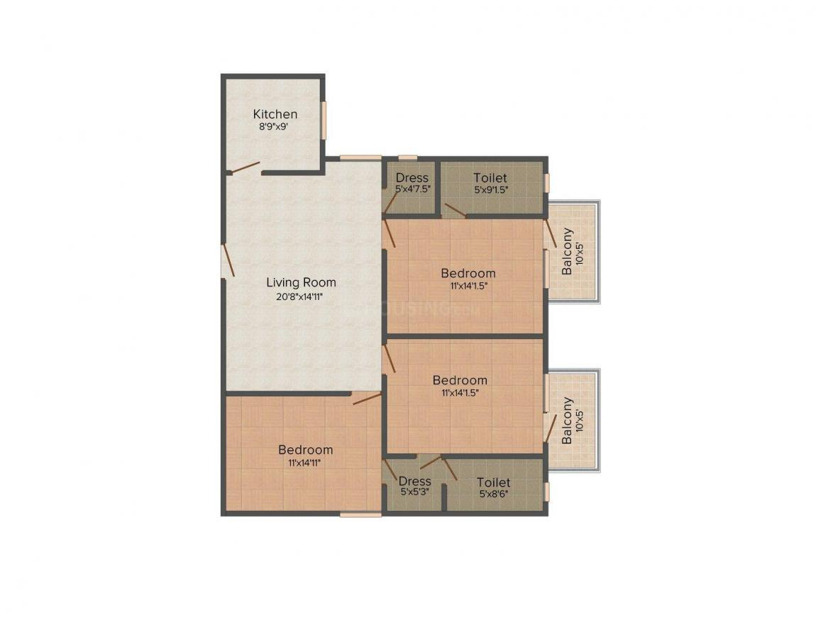 Manav Raghunath Residency  Floor Plan: 3 BHK Unit with Built up area of 1440 sq.ft 1