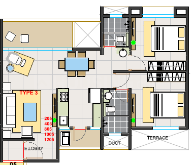 Parkland Floor Plan: 2 BHK Unit with Built up area of 662 sq.ft 1