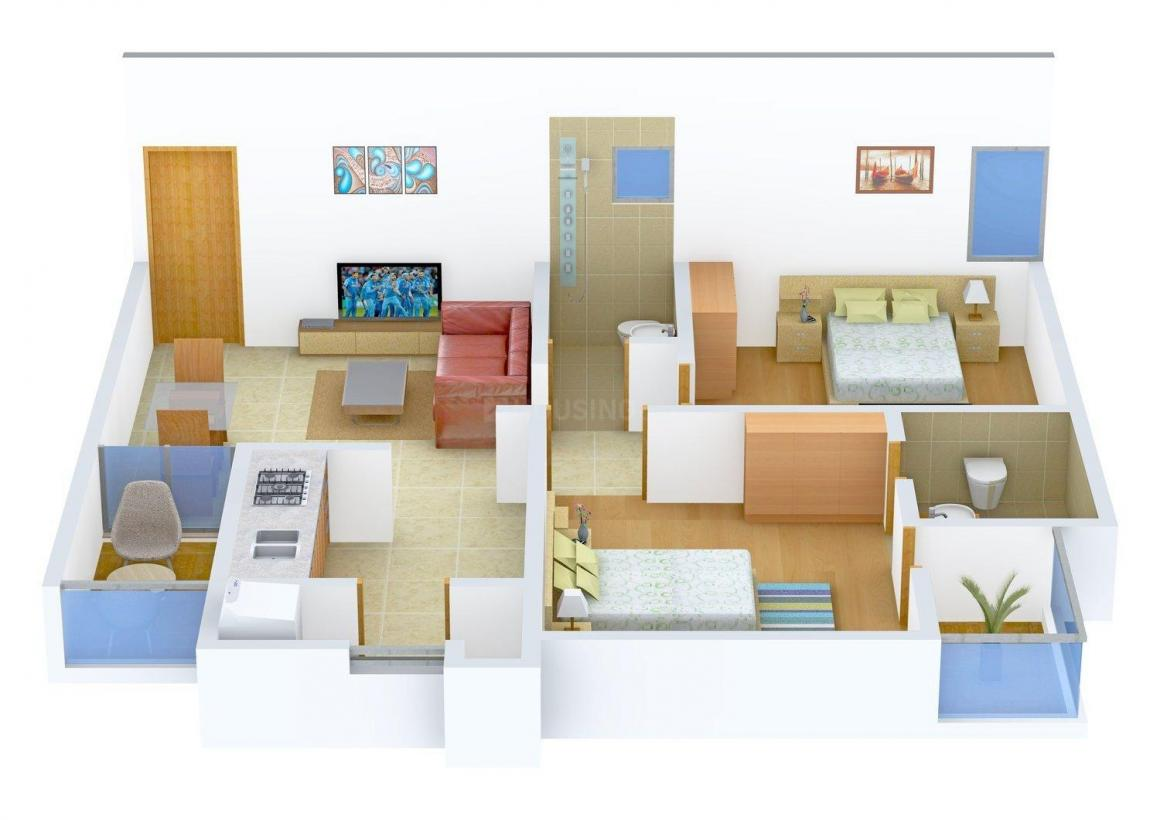 Floor Plan Image of 0 - 1033 Sq.ft 2 BHK Apartment for buy in Makhija Royal Plaza