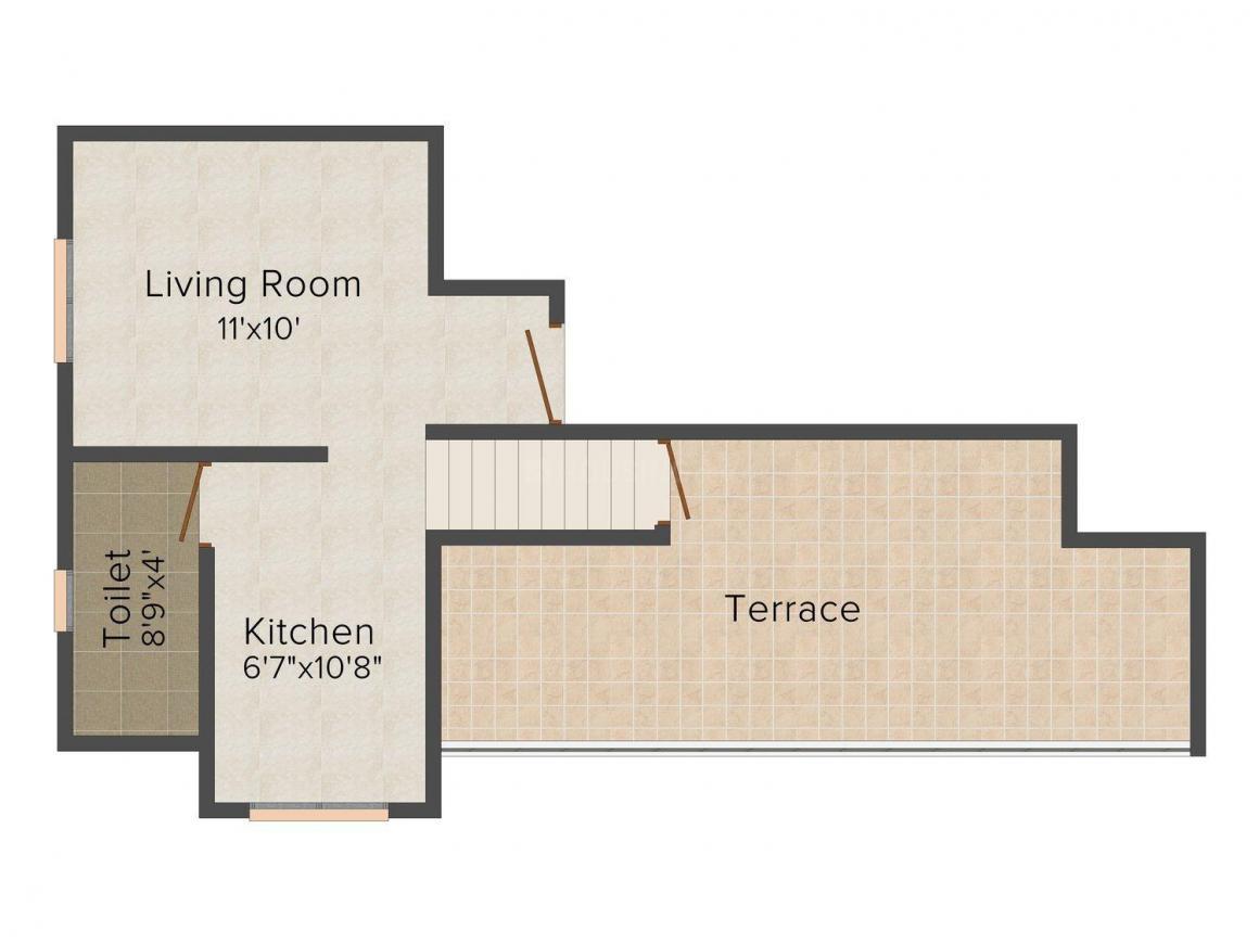 Floor Plan Image of 226.0 - 435.0 Sq.ft 1 RK Apartment for buy in Subhadra Gajanan