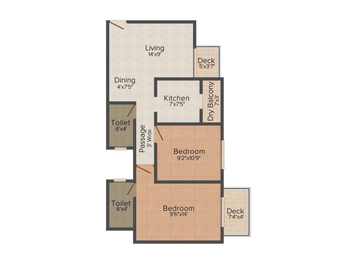 Prime Samruddha Jeevan Sankul Floor Plan: 2 BHK Unit with Built up area of 857 sq.ft 1