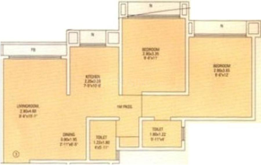 RNA NG Royal Park Floor Plan: 2 BHK Unit with Built up area of 1055 sq.ft 1