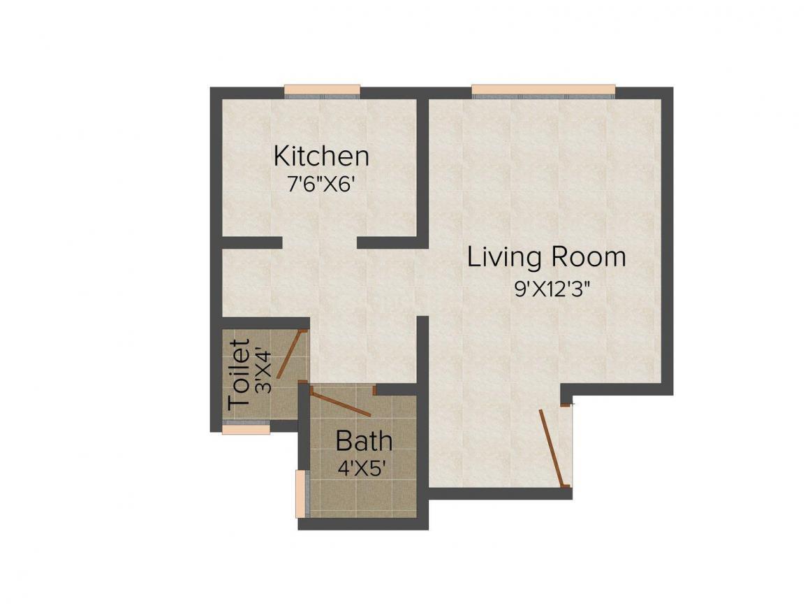 Divyadarshan Kedareshwar Park Floor Plan: 1 BHK Unit with Built up area of 330 sq.ft 1