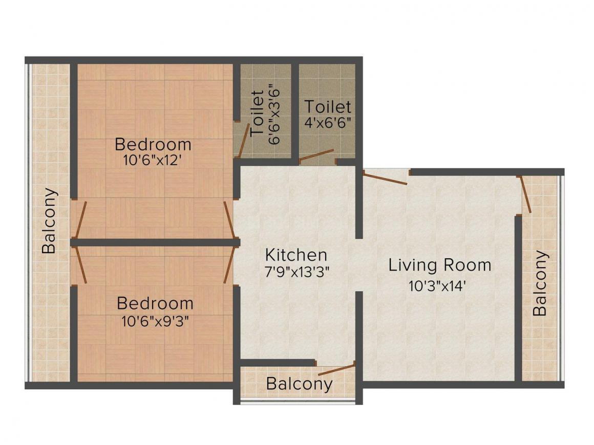 Floor Plan Image of 0 - 685 Sq.ft 2 BHK Apartment for buy in Rudraksha Residency I