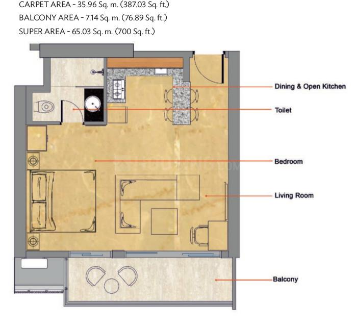 Wave Livork Floor Plan: 1 BHK Unit with Built up area of 387 sq.ft 1