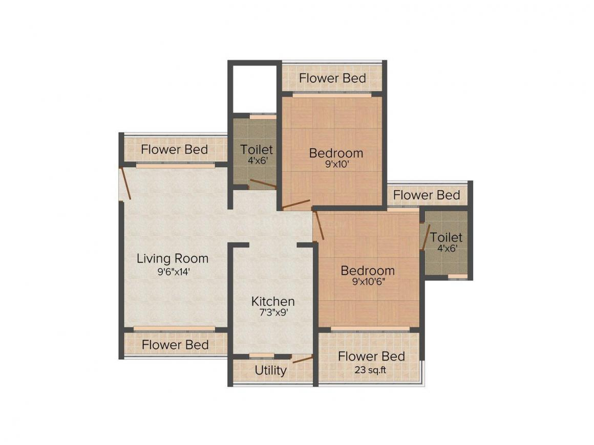 Floor Plan Image of 963.0 - 1100.0 Sq.ft 2 BHK Apartment for buy in Marvel Shanti Heights