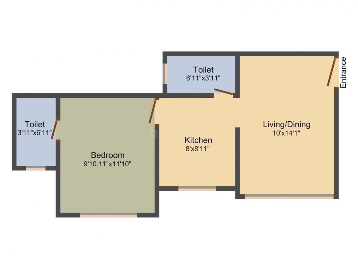 Floor Plan Image of 630.0 - 950.0 Sq.ft 1 BHK Apartment for buy in Shivshankar Shivram Palladium