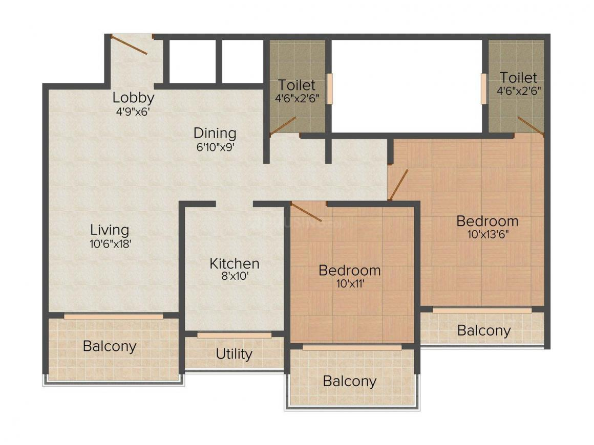 Floor Plan Image of 0 - 1150.0 Sq.ft 2 BHK Apartment for buy in Regency Crest