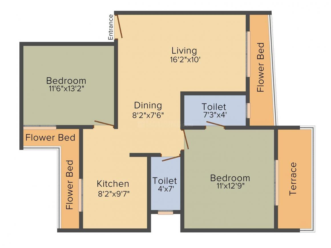 Vishal Residency Floor Plan: 2 BHK Unit with Built up area of 1242 sq.ft 1