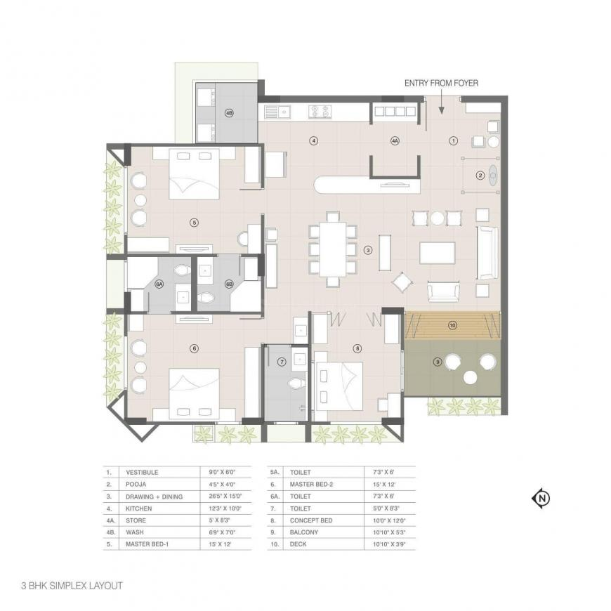 D And C Meghdhanush Residency Floor Plan: 3 BHK Unit with Built up area of 2490 sq.ft 1