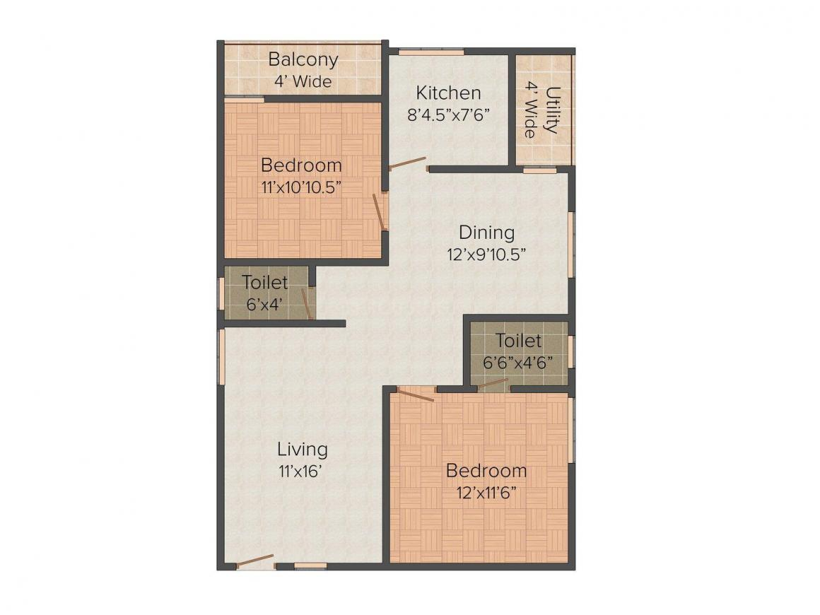 Floor Plan Image of 1130.0 - 1150.0 Sq.ft 2 BHK Apartment for buy in RK Cretaive Green Park Residency