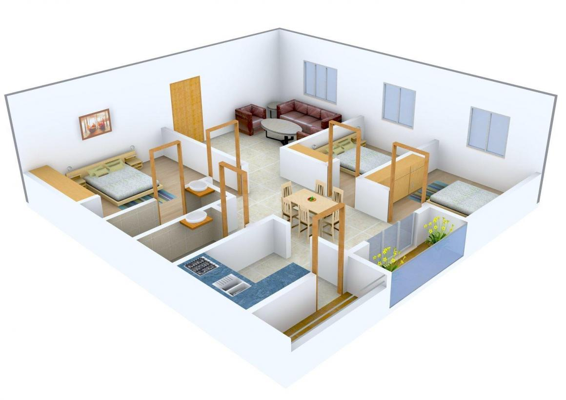 Sunrise Apartment Floor Plan: 3 BHK Unit with Built up area of 1330 sq.ft 1