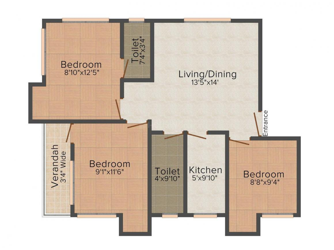 Floor Plan Image of 715 - 1172 Sq.ft 2 BHK Apartment for buy in SC Aakash Apartment
