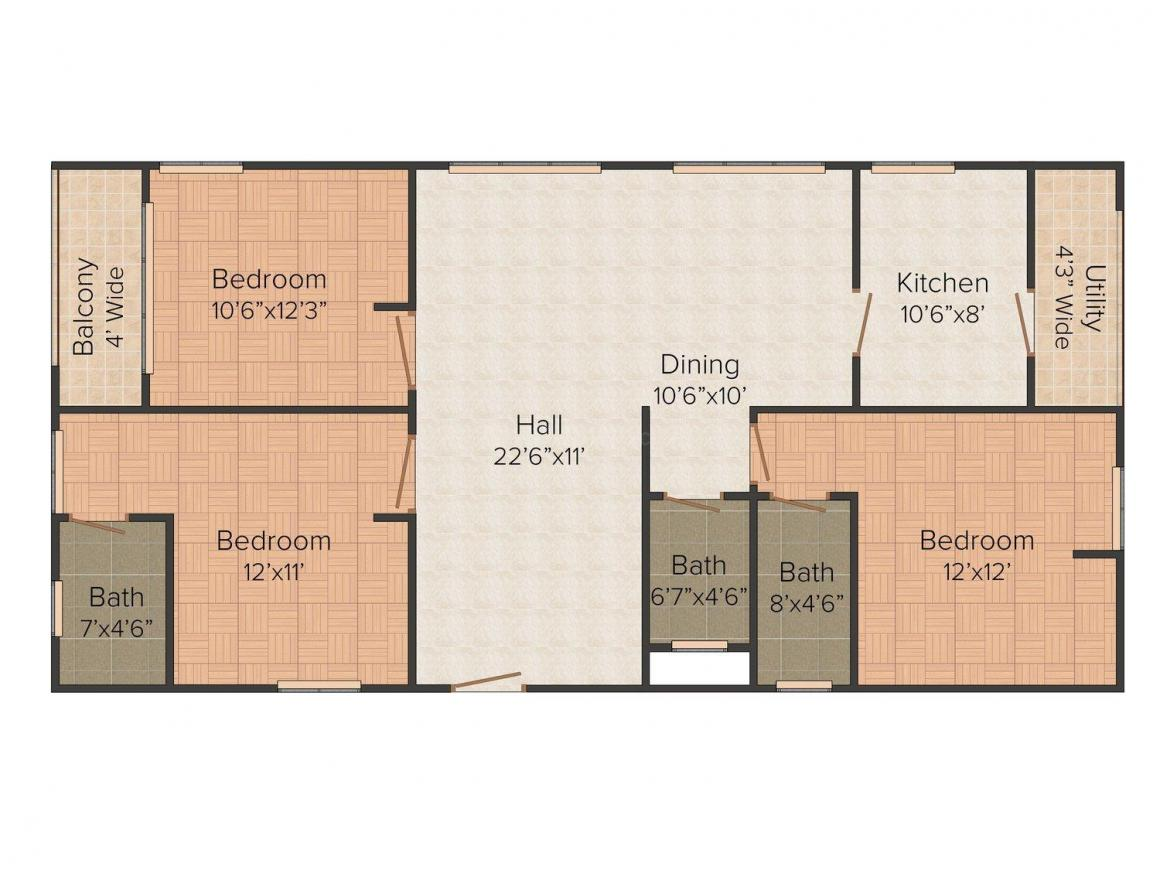Floor Plan Image of 0 - 1550.0 Sq.ft 3 BHK Apartment for buy in Hardhik Anmol Apartments
