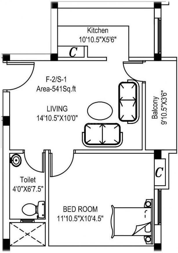 Sarvajith Royal Medows Floor Plan: 1 BHK Unit with Built up area of 541 sq.ft 1
