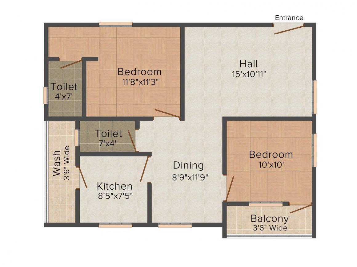Srihari Vasam Floor Plan: 2 BHK Unit with Built up area of 1000 sq.ft 1